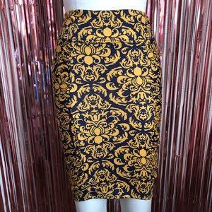 Gold Navy Blue Pencil Skirt